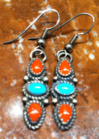 EARRINGS NAVAJO TURQUOISE & CORAL FRENCH WIRE DANGLE ROPE DESIGN
