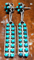 EARRINGS ZUNI TURQUOISE PETTIPOINT DANGLE ESTATE PAWN SOLD