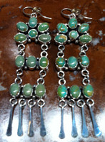 EARRINGS NAVAJO GREEN MANASSA TURQUOISE DANGLE STERLING SILVER FRENCH WIRE Nakai SOLD