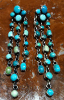 EARRINGS NAVAJO CASCADING DROPS OF TURQUOISE DANGLE STYLE FASHION DESIGN EXTRA LONG Lincoln SOLD