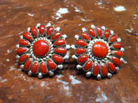 EARRINGS ZUNI CORAL ROUND STERLING SILVER Lorraine Waatsa