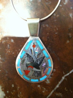 PENDANTS ZUNI MULTI-COLOR INLAY HUMMINGBIRD DESIGN Dennis & Nancy Edaakie SOLD