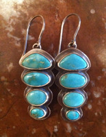 EARRINGS NAVAJO STERLING SILVER STACKED TURQUOISE OVAL FRENCH WIRE DANGLE SOLD