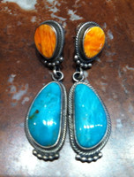 EARRINGS NAVAJO STERLING SILVER TURQUOISE RARE LIGHT ORANGE RARE SPINY OYSTER SHELL Richard Begay SOLD