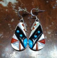 EARRINGS ZUNI TEARDROP SHAPED MULTI-COLOR RAISED INLAY FRENCH WIRE DANGLE Virginia Quam SOLD