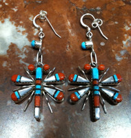 EARRINGS ZUNI MULTI-COLOR INLAY DRAGONFLY MOTIF WJH SOLD