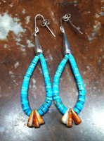 EARRINGS SANTO DOMINGO TURQUOISE ORANGE SPINY OYSTER SHELL HEISHI DANGLE HOOPS Ray Lovato SOLD