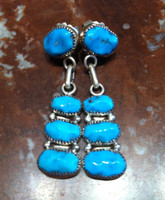 EARRINGS NAVAJO STYLE ZUNI TURQUOISE NUGGET DANGLE RLD