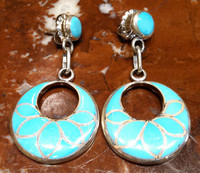 EARRINGS ZUNI FISH SCALE TURQUOISE INLAY HOOPS DANGLE SOLD