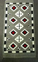 Navajo Rug 1960's Red Black & White Diamond Cross Pattern Design SOLD