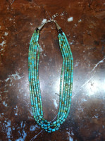 SANTO DOMINGO FIVE STRAND GREEN HEISHI TURQUOISE NECKLACE Ken Aguilar SOLD