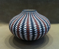 Pottery Acoma Black White Orange Eye Dazzler Paula Estevan_3 SOLD
