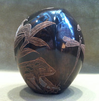 Pottery Santa Clara Asymmetrical Scraffito Incised Dragonfly Frog Bumble Bee Bernice Naranjo_1