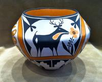 Pottery Acoma Deer Bird Motif Polychrome Pot Sarah Garcia