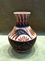 Pottery Jemez Polychrome Feather Pattern Design Natalie Sandia