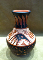 Pottery Jemez Polychrome Feather Pattern Design Natalie Sandia_2
