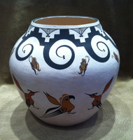 Pottery Acoma Polychrome Birds Butterflies Myron Garcia SOLD