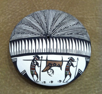 Pottery Acoma Fine Line Deer Hunter Seed Pot Daniel Lucario SOLD