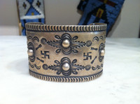 Bracelets Navajo 1940's Pawn Wide Coin Silver Cuff Whirling Log Pattern Re-Posse Design SOLD
