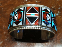 Bracelets Zuni Sterling Sunface Inlay Turquoise Coral Mother of Pearl Wide Cuff Large R & L Vacit_1