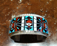 Bracelets Zuni Sterling Sunface Inlay Turquoise Coral Mother of Pearl Wide Cuff Large R & L Vacit_2