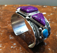 Bracelets Navajo Three Stone Sugilite Two Stone Turquoise Cabochon Silver Wide Cuff Guy Hoskie_1 SOLD