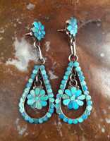 EARRINGS PAWN ZUNI INLAY TURQUOISE LARGE TEARDROP DOUBLE FLORAL DANGLE Dishta