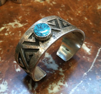 BRACELETS NAVAJO HOPI STYLE STERLING TURQUOISE CUFF Kee Yazzie