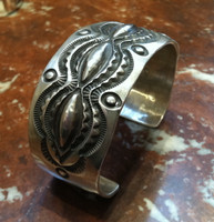 BRACELETS NAVAJO STERLING SILVER REPOSSE STAMPED SATIN FINISH CUFF Elvira Bill SOLD