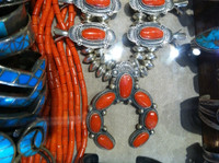 SQUASH BLOSSOM NECKLACE CORAL OVAL CABOCHONS NAVAJO PJ Begay SOLD