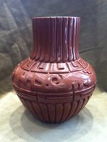 Pottery Santa Clara Carved Red Pot Double Avanyu Greek Key Feather Design Linda Tafoya Sanchez