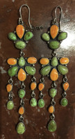 EARRINGS NAVAJO CASCADE GASPEITE RARE ORANGE SPINY OYSTER SHELL Emma Lincoln SOLD