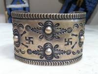 1940's RARE PAWN COIN SILVER WIDE CUFF BRACELET WHIRLING LOG PATTERN