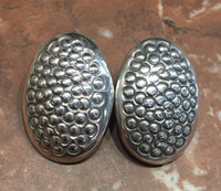 EARRINGS NAVAJO STERLING SILVER DOMED OVAL CLIP Orville Tsinnie