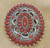 """Alice Quam is the artist of this Zuni Coral cluster pin/pendant. This measures 3""""H x 3 1/2""""W."""