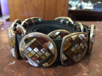 NAVAJO MULTI-INLAY CONTEMPORARY UNISEX CONCHO BELT CALVIN BEGAY ORLINDA SPENCER