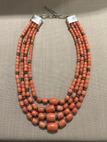 RARE SALMON CORAL LARGE BARREL BEADS GRADUATED 4 STRAND SANTO DOMINGO NECKLACE