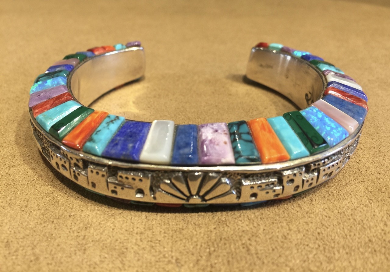 60bc7081a494b BRACELET STERLING SILVER DOMED MULTI-COLOR RAISED INLAY STONE