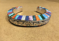 BRACELET STERLING SILVER DOMED MULTI-COLOR RAISED INLAY STONE