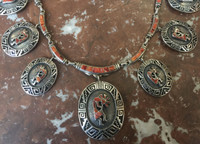 NAVAJO KOKOPELLI RARE ORANGE SPINY OYSTER SHELL SILVER OVERLAY NECKLACE SOLD