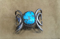 CARL LUTHY BRACELET NAVAJO STERLING SILVER TURQUOISE CABOCHON