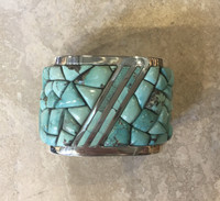 1970'S NAVAJO MIXED NEVADA COBBLESTONE TURQUOISE RAISED INLAY DESIGN ANNIE BEGAY