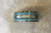 1970's Raised Turquoise Inlay Mother Of Pearl Yellow Snail Shell Coral Bracelet