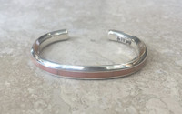 BRACELETS ZUNI SILVER RARE ANGEL SKIN CORAL INLAY Thomas Natachu