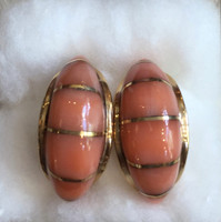 EARRINGS NAVAJO 14K GOLD RARE ANGEL SKIN CORAL INLAID HOOPS TIM BEDAH