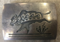 BELT BUCKLE HOPI BISON BUFFALO TATONKA ESTATE JEWELRY PAWN Larry Pooyouma