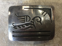 BELT BUCKLE RECTANGULAR HOPI DUCK MOTIF PAWN ESTATE JEWERLY Laren Koinva