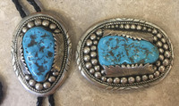 BELT BUCKLE BOLO SET ZUNI TURQUOISE AND SILVER ROBERT AND BERNICE LEEKYA