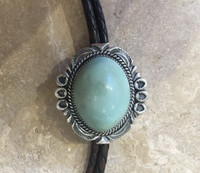 BOLO TIE NAVAJO SILVER DOMED TURQUOISE Jeanette Dale