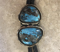 BOLO TIE NON-NATIVE MADE DOUBLE TURQUOISE STONES SILVER Shelly Mixer